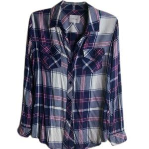 LENA CASE Long sleeves plaid blouse pink & gray